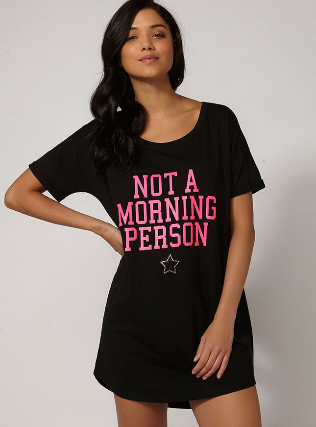 """Not a morning person"" sleep tee"