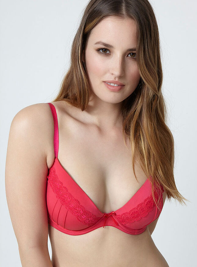 Tara pleated plunge bra