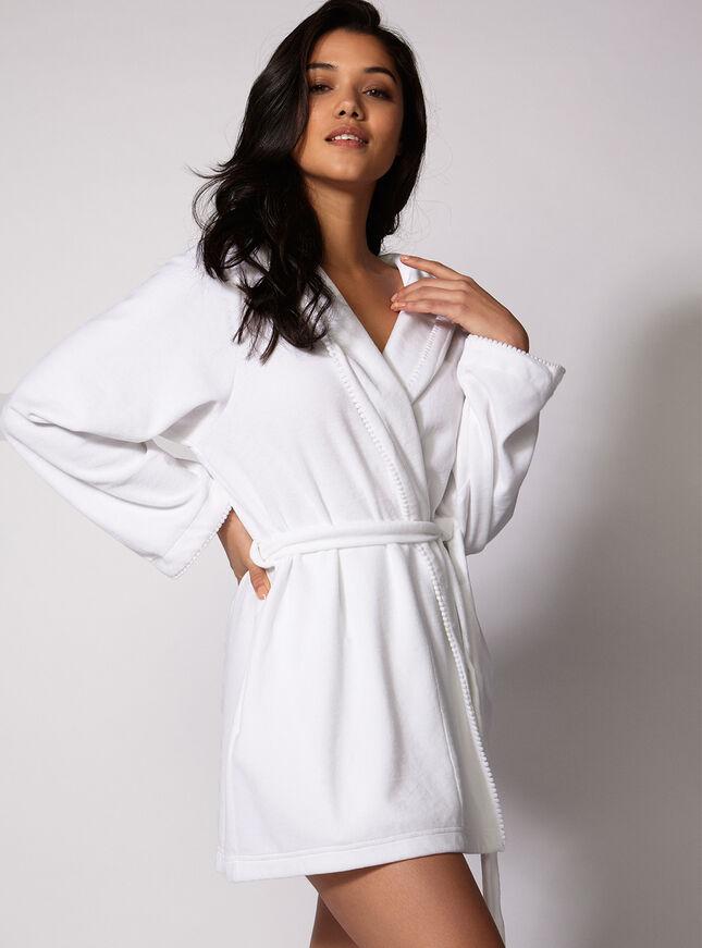 Toweling pom pom robe