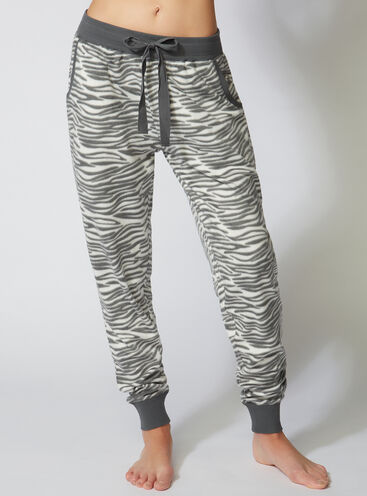 Minky zebra fleece pants