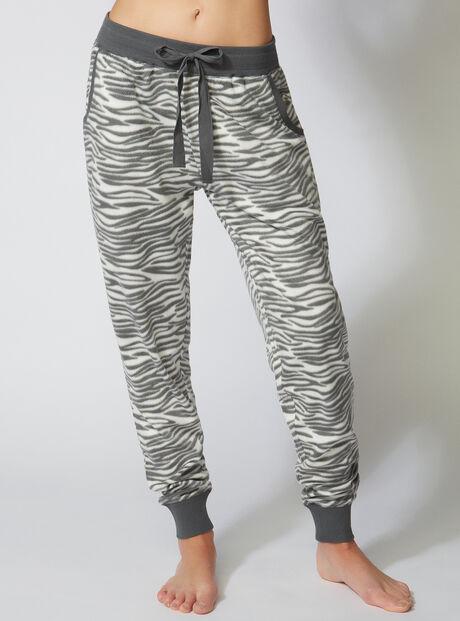 Minky zebra fleece pants