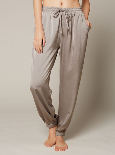 Hammered satin cuffed pants