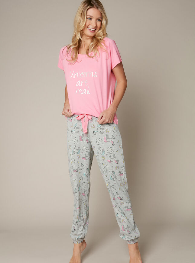 """Unicorns are real"" tee and jogger set"