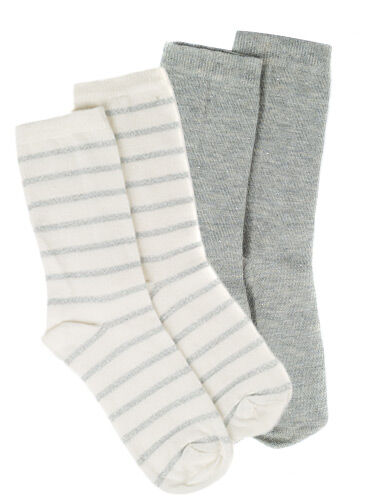 Stripe/stud 2 pack ankle socks