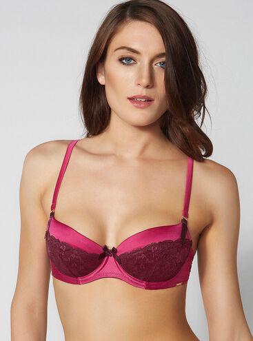 Sylvia satin and lace balconette bra