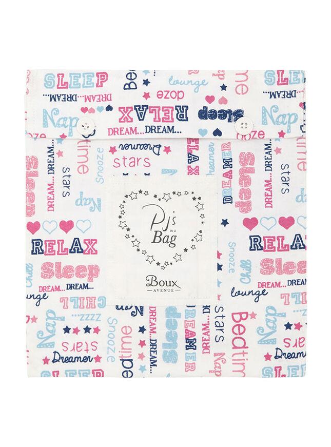 Slogan pyjamas in a bag