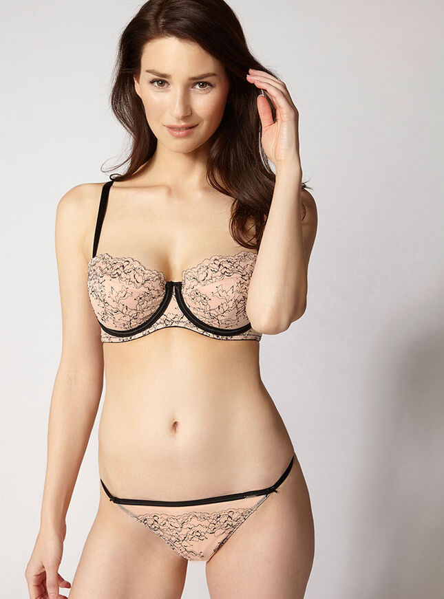 Ebony contrast full support balconette bra
