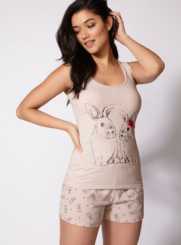Bunny vest and shorts pyjama set