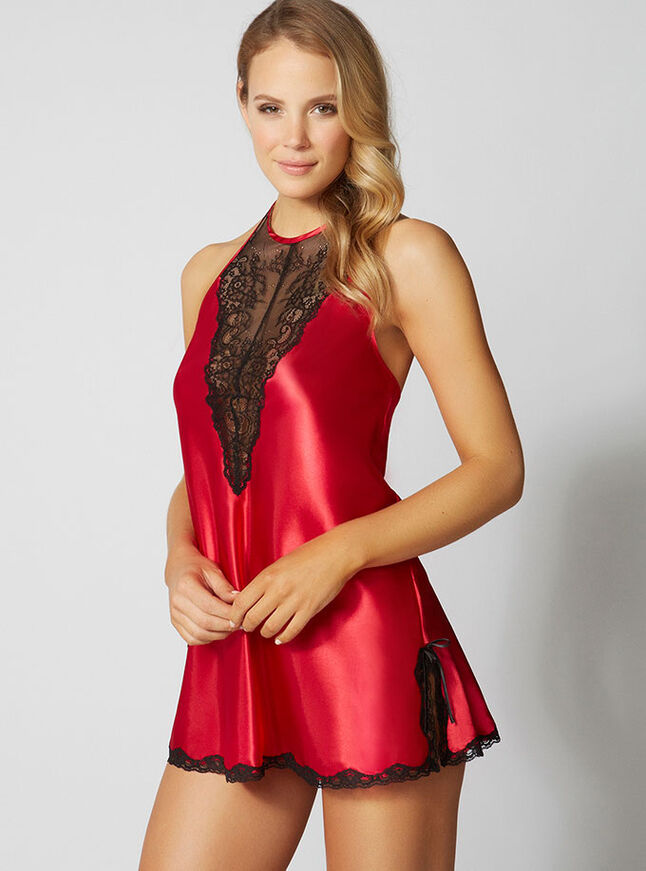 Alexis satin and lace chemise