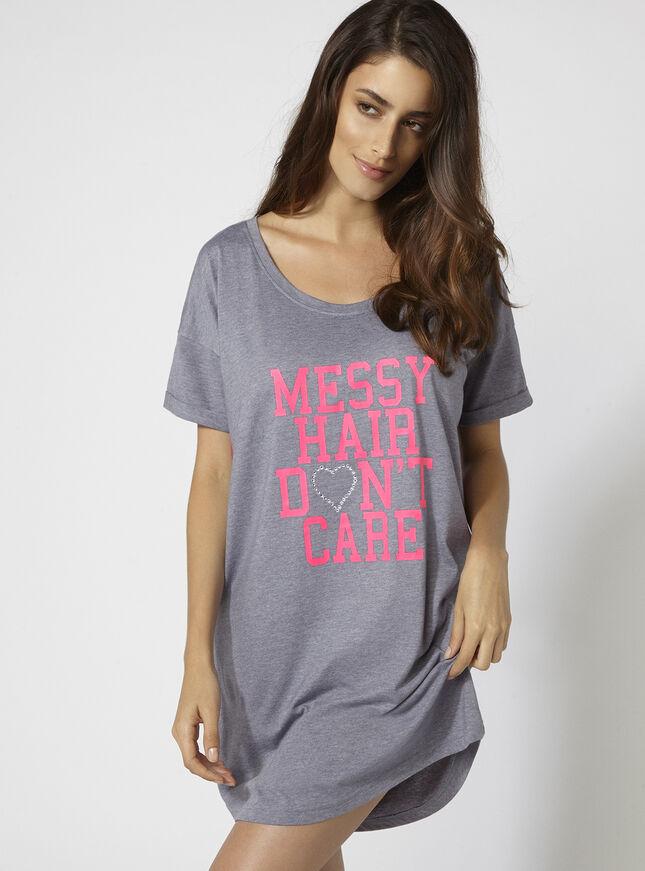 """Messy hair don't care"" sleep tee"