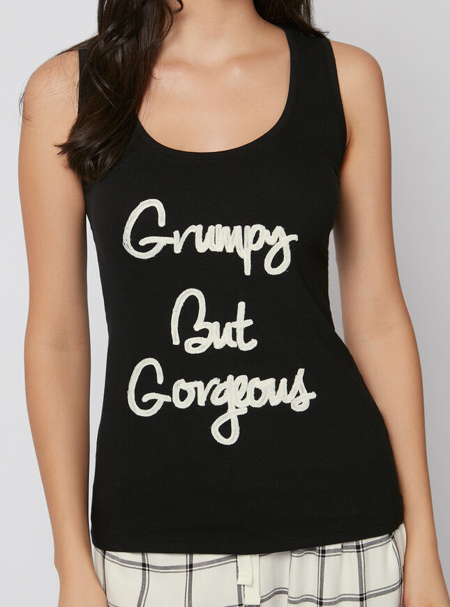 """Grumpy but gorgeous"" check pyjama set"