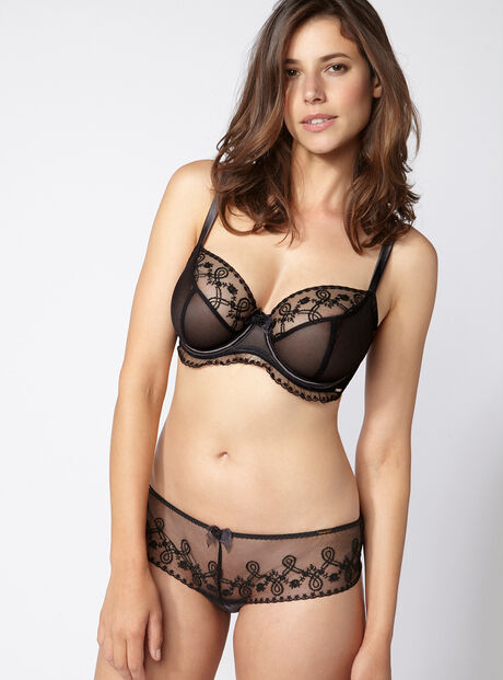 Sienna embroidered thong black