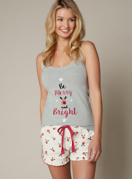 """Be merry and bright"" vest and shorts set"