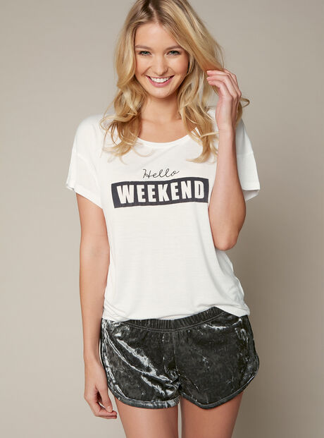 """""""Hello weekend"""" tee and shorts set"""