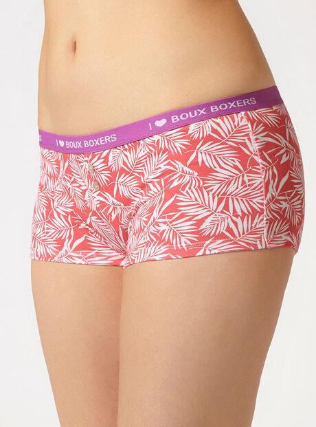 Tropical leaf boy shorts