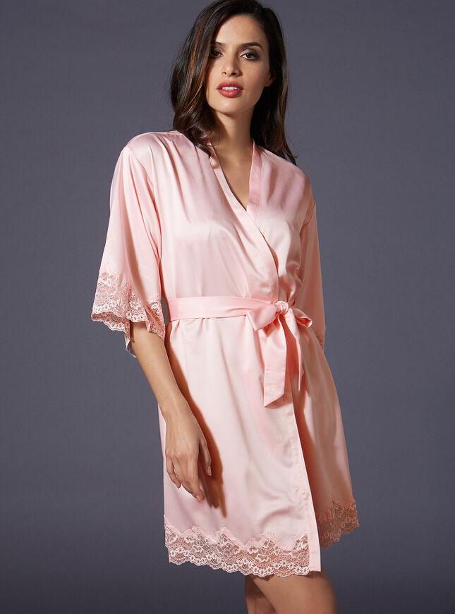 Bridesmaid lace trim kimono