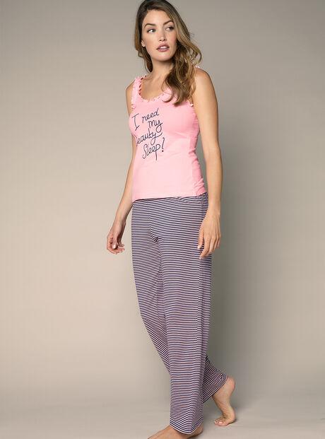 """I need my beauty sleep"" vest and pants pyjama set"