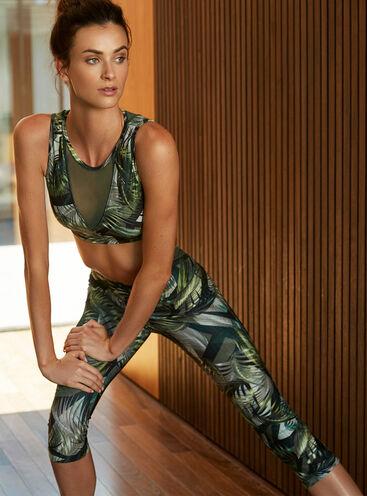 Activewear printed mesh crop top