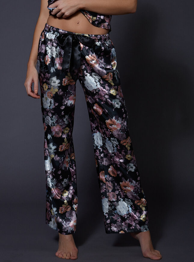 Dark rose floral pants