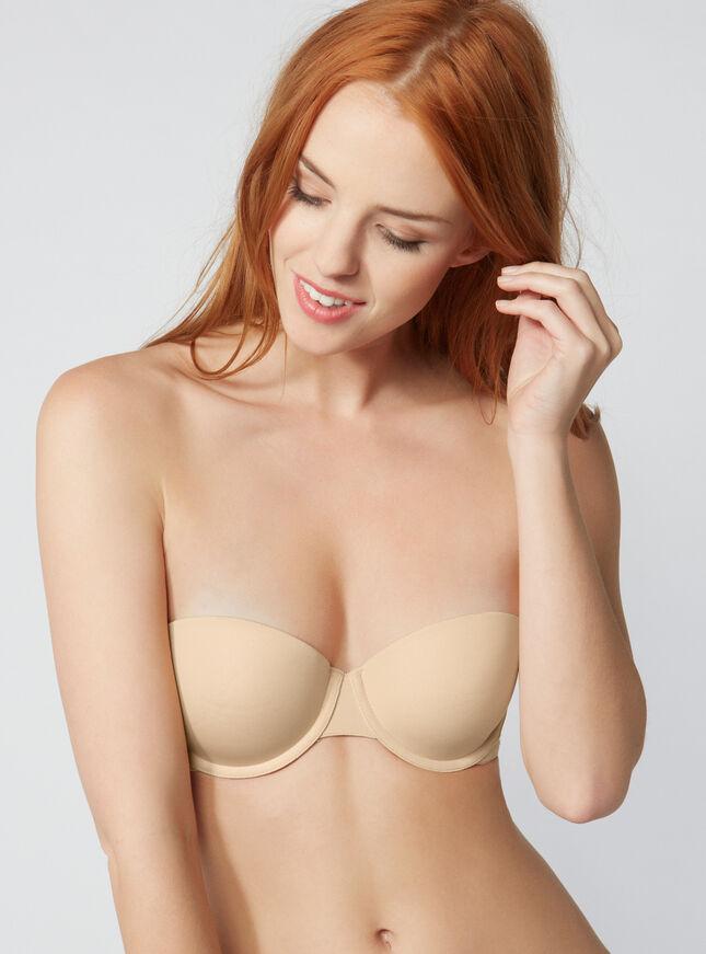 Microfibre moulded strapless bra