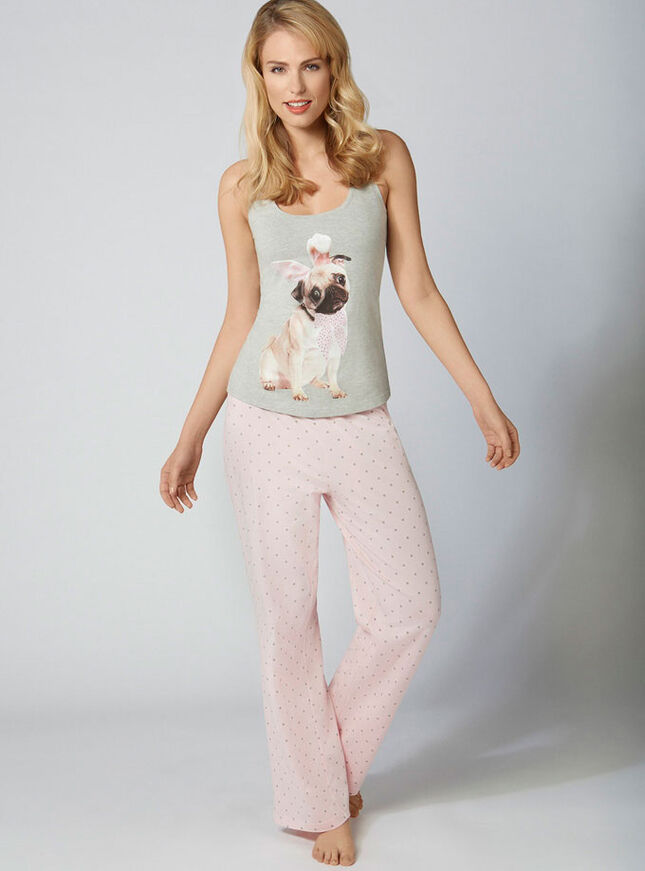 Ned pug vest and pants pyjama set