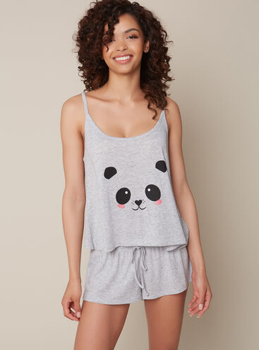 Panda cami and shorts pyjama set