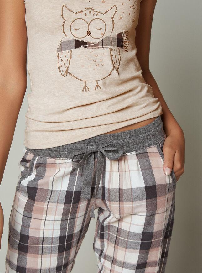 Owl vest and check pants set