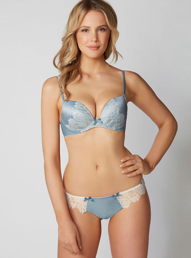 Gwyneth lace and satin plunge bra