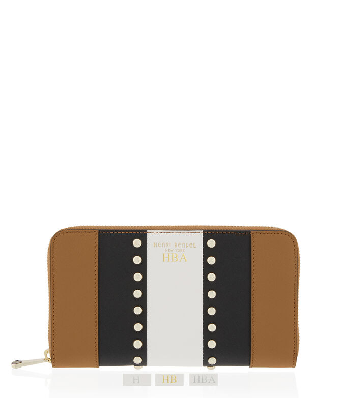 West 57th Stripe Studded Zip Around Continental Wallet