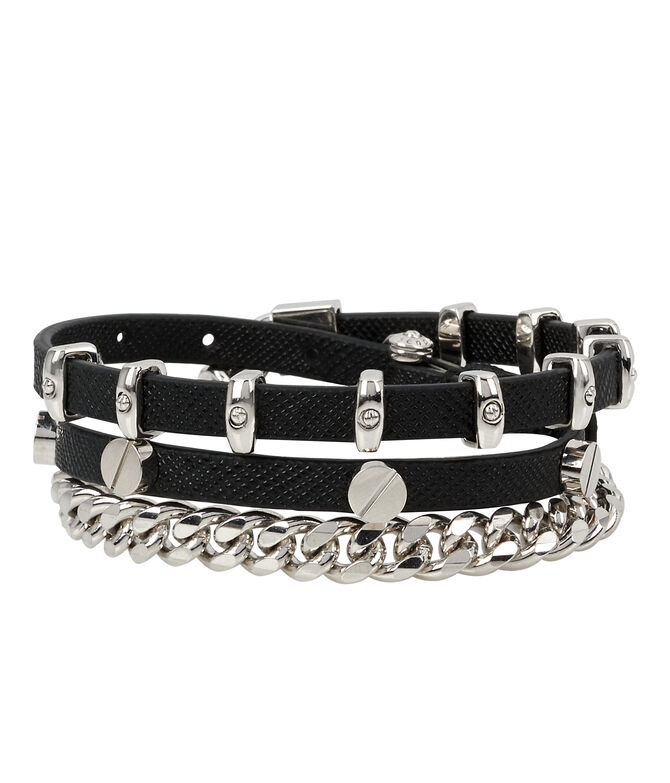 Studded Leather Triple Wrap Bracelet
