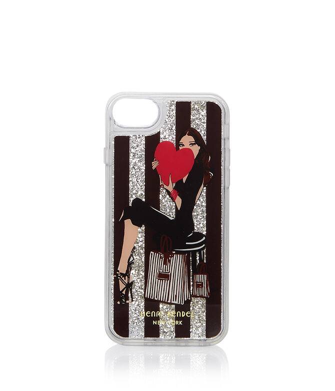 Girl with Heart Graphic Glitter Case for iPhone 6/7