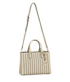 West 57th Perforated Striped Small Turnlock Satchel