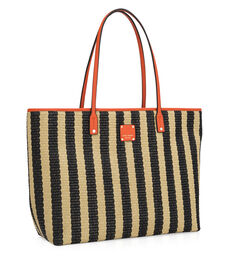 Striped Straw Beach Tote