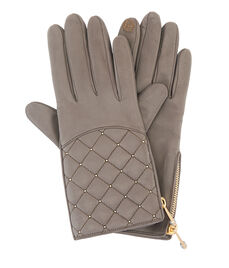 Quilted Studded Zipper Gloves