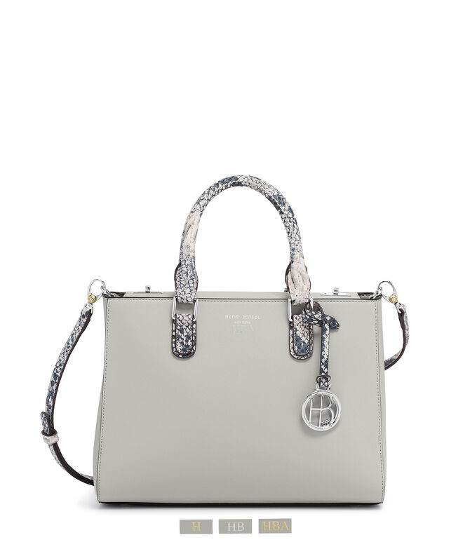 West 57th Small Turnlock Satchel with Snake Embossed Trim