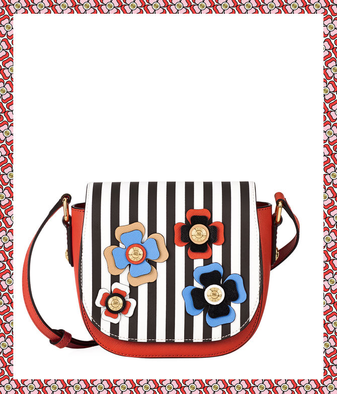 West 57th Bouquet Striped Mini Saddle Bag