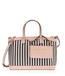 West 57th Perforated Striped Satchel