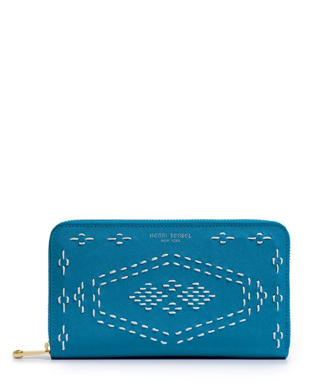 West 57th Stitch Lace Zip Around Continental Wallet