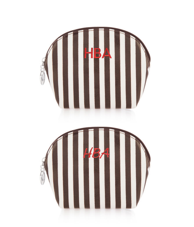 Brown & White Cosmetic Case Trio Set