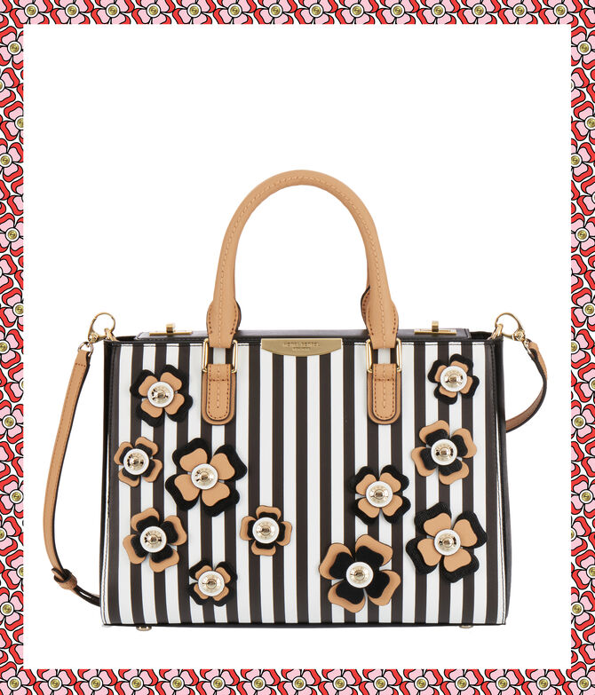 West 57th Bouquet Striped Turnlock Applique Satchel
