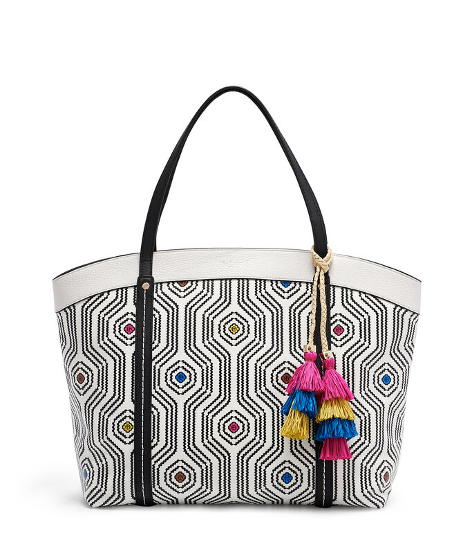 Printed Canvas Tassel Tote
