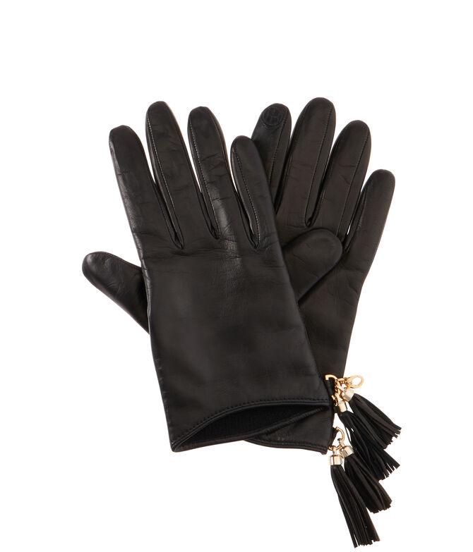Henri Bendel Tassel Leather Gloves