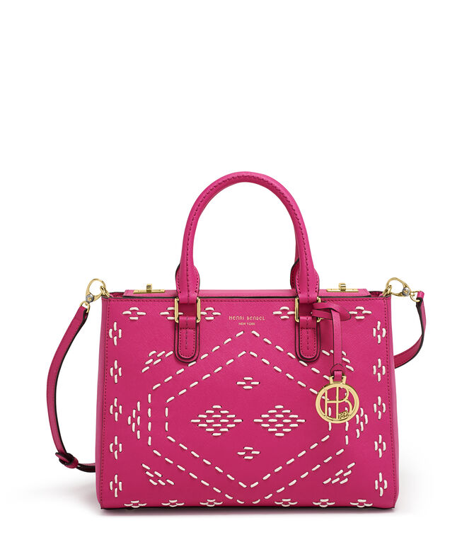 West 57th Woven Stitch Turnlock Satchel