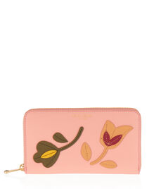 West 57th Floral Applique Zip Around Continental Wallet