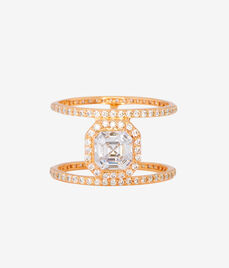 Luxe Asscher Cut Pave Harness Ring