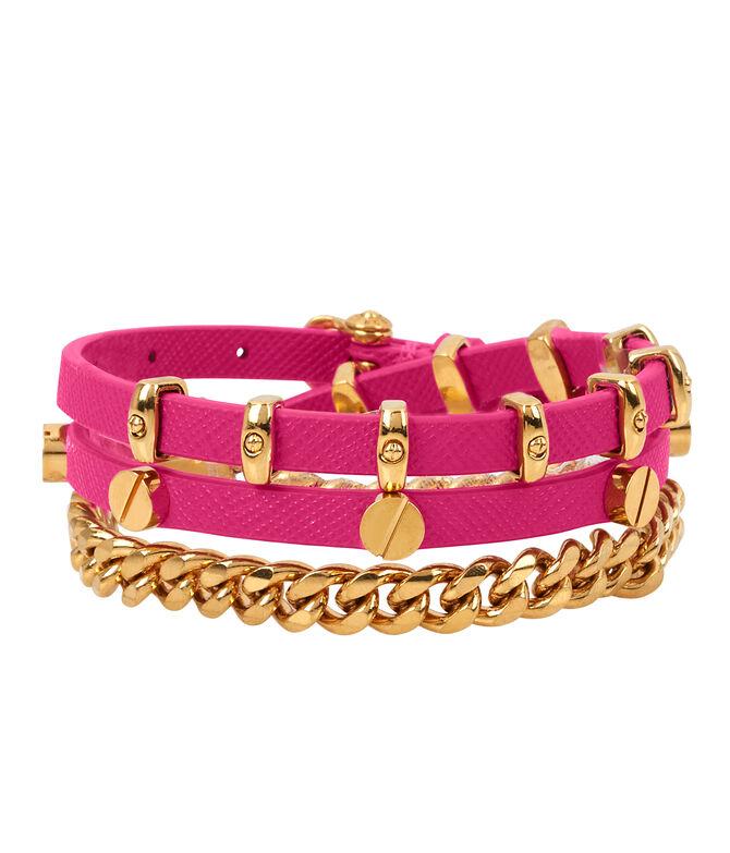 Studded Leather Triple Wrap Bracelet