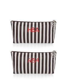 Brown & White Medium T Gusset Cosmetic Bag