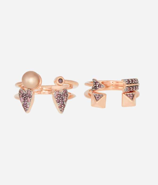 Luxe Quirky Heart Stack Rings