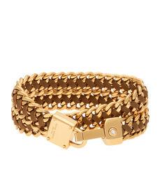 Padlock Convertible Leather Wrap Bracelet & Choker