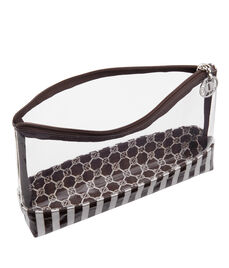 Brown & White Large T Gusset Clear Cosmetic Bag